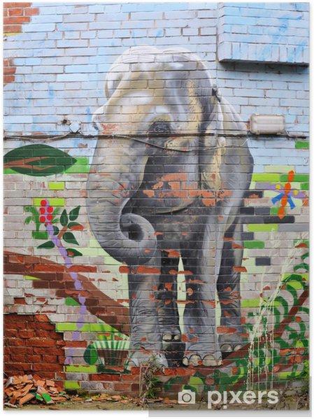 Plakat Malowane na ścianie słoń - Tła