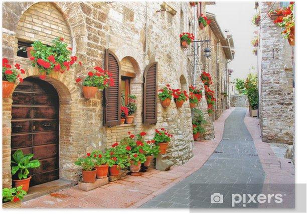 Plakat Malownicze lane z kwiatami we włoskim wzgórzu miasta - Tematy