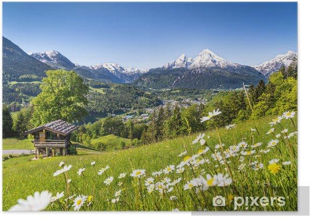 Plakat Malowniczy krajobraz w Bawarskich Alpach - Niemcy