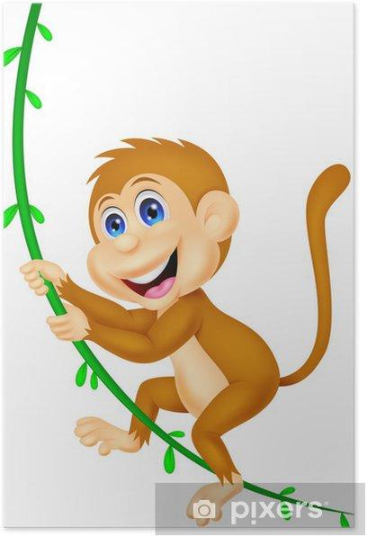 Plakat Małpa Cute kołysanie - Naklejki na ścianę