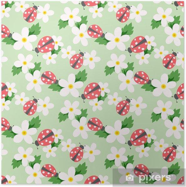 Plakat Mały kwiat wektor z biedronką. ładny biały kwiatowy wzór. kwiatowy tło. - Zasoby graficzne