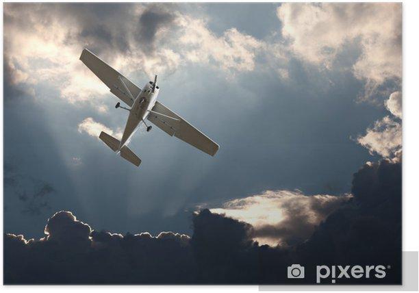 Plakat Mały samolot skrzydło stałe przeciwko burzliwe niebo - Tematy