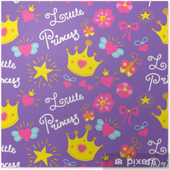 Plakat Mały Wektor Wzór Księżniczki Tło ładny Dziewczyna Szablon