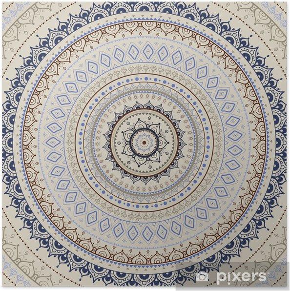Plakat Mandala. indian wzór dekoracyjny. - Style