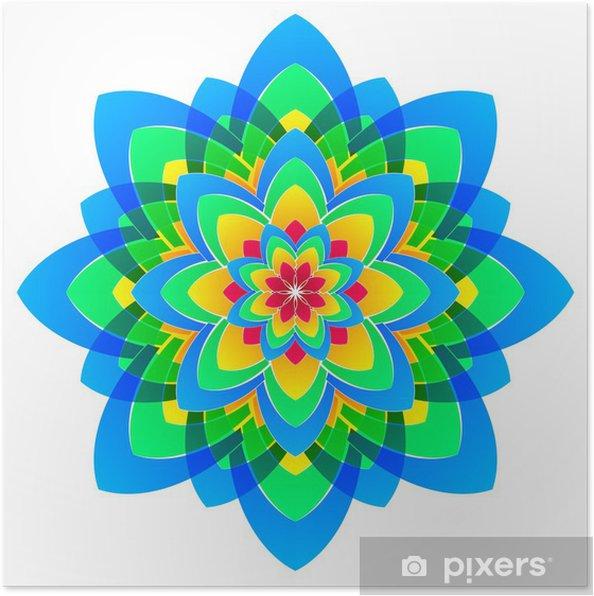 Plakát Mandala květiny, duhové barvy v kruzích - Nálepka na stěny