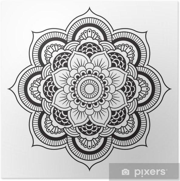 Plakat Mandala. okrągły ornament - Naklejki na ścianę