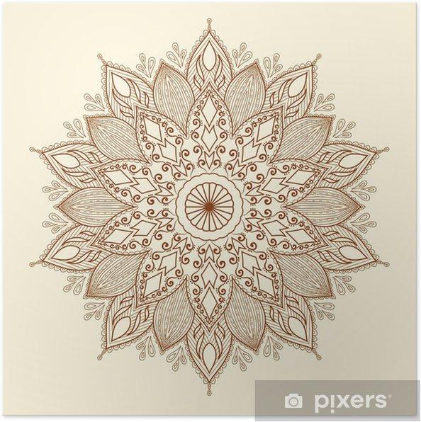 Plakat Mandala. piękne ręcznie rysowane kwiatu. - Style