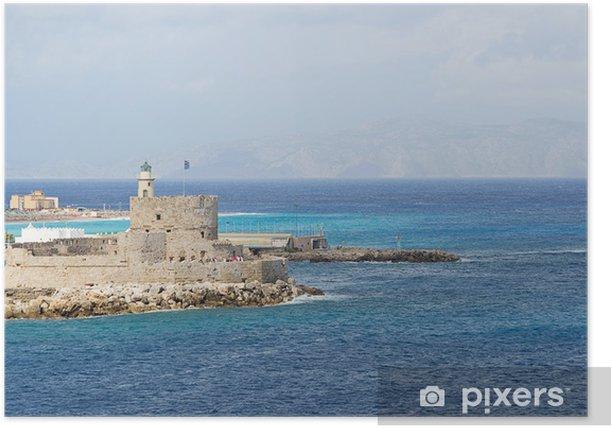 Plakat Mandraki harbor-Rodos, Grecja - Europa