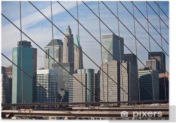 Plakat Manhattan à travers Brooklyn Bridge - Infrastruktura