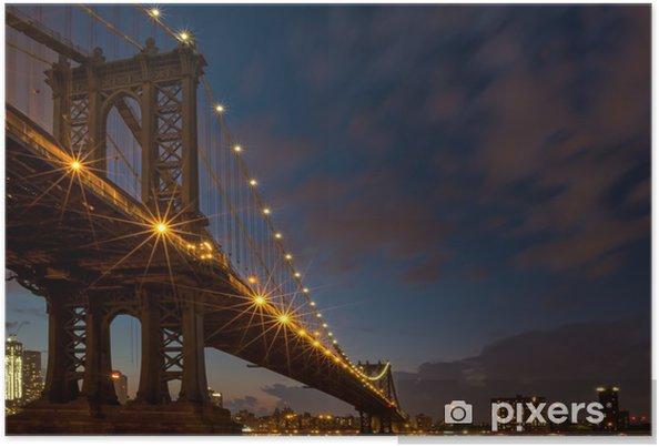 Plakát Manhattan Bridge v modrém hodinu - Brooklynský Most