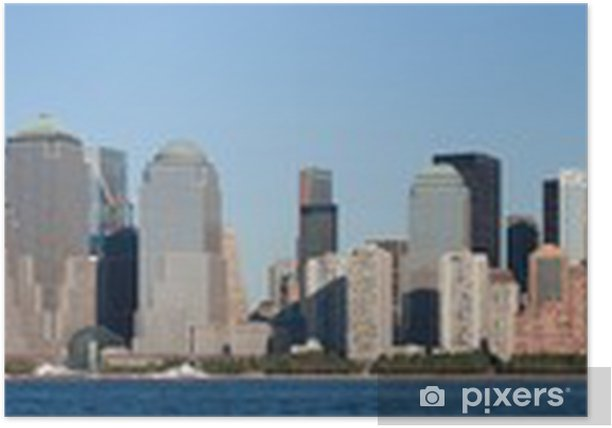 Plakát Manhattan Financial District při západu slunce panorama města Jersey - Venkov