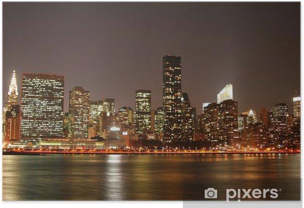 Plakát Manhattan panorama v noci - Manhattan