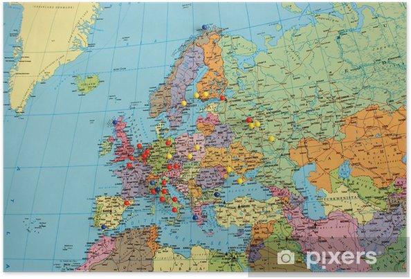 Plakat Mapa Europy z pinami podróży - Tematy