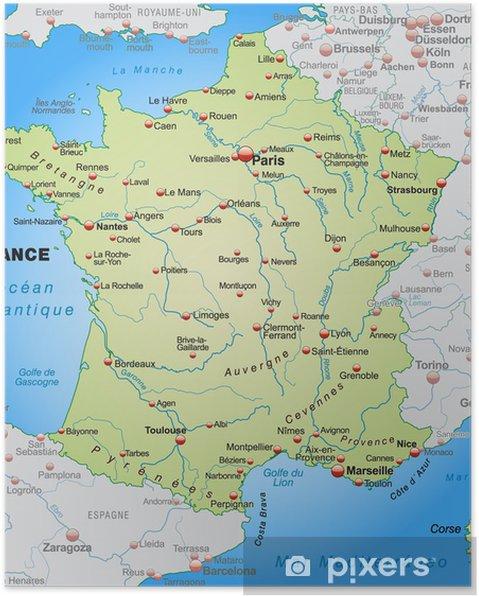 Plakat Mapa Francji z krajami sąsiednimi - Tematy