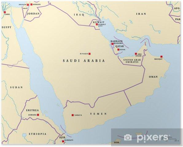 Plakat Mapa Polwyspu Arabskiego Pixers Zyjemy By Zmieniac