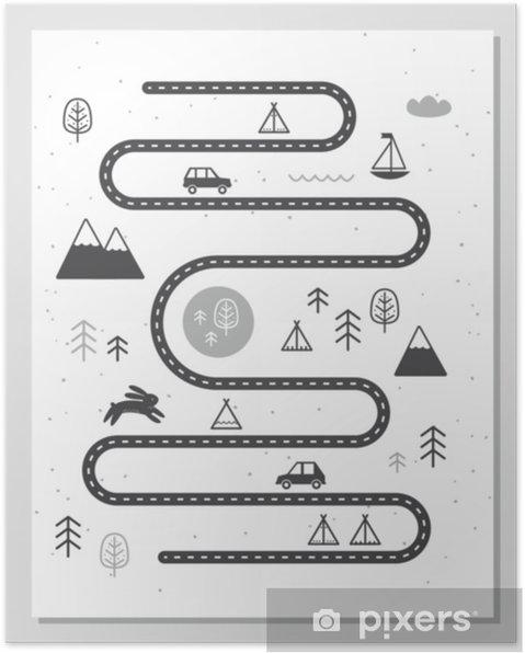 Plakat Mapa przygód drogowych, górskich i leśnych. styl monochromatyczny przedszkole w stylu skandynawskim - Zwierzęta