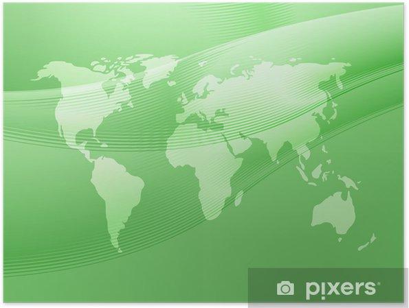 Plakát Mapa světa ilustrace s abstraktními křivkami -