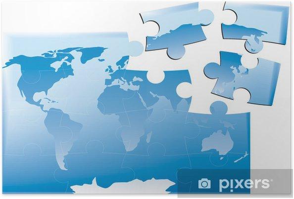 Plakát Mapa světa jako puzzle sjednocené - Doplňky a věci