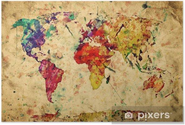 Plakat Mapa świata archiwalne. kolorowe farby, akwarela na papierze grunge -