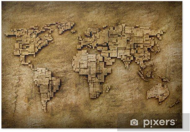 Plakat Mapa świata grunge - Tematy