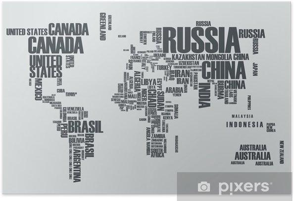 Plakat Mapa świata: kontury kraju składa się ze słów - Dla nastolatka