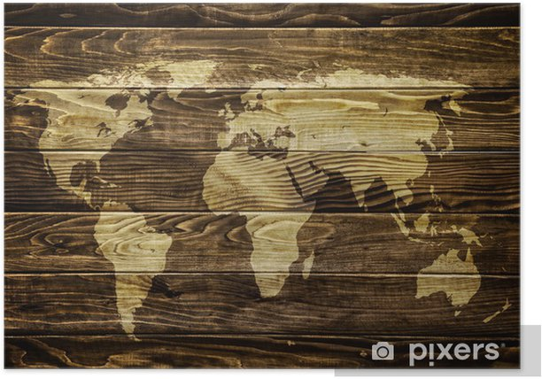 Plakat Mapa świata na tle drewna -
