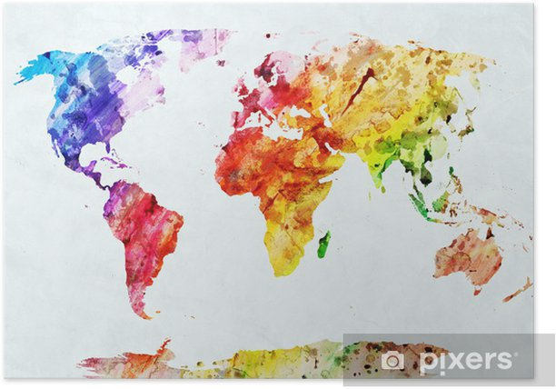 Plakat Mapa świata w akwareli - Style
