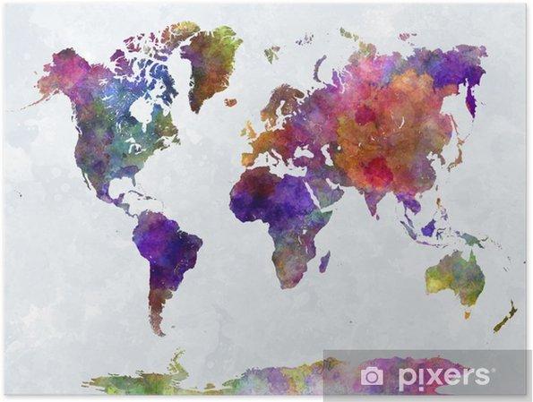 Plakat Mapa świata w watercolorpurple i niebieskie -