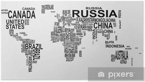 Plakat Mapa świata z nazwy kraju - Dla nastolatka