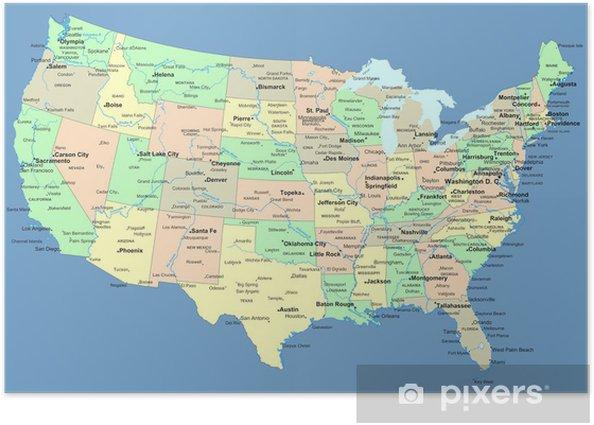 Plakat Mapa usa z nazwami państw i miast - Tematy