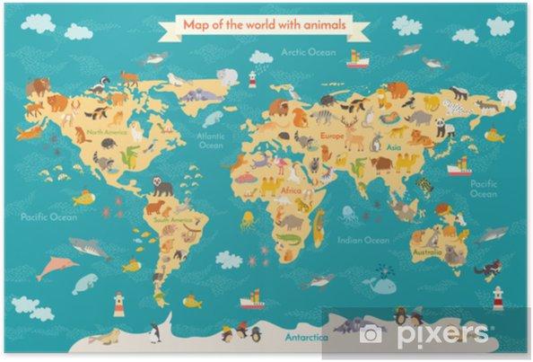Plakat Mapa Zwierząt Dla Dzieci Plakat Wektor świat Dla Dzieci Słodkie Ilustrowane Przedszkola Kreskówka Glob Ze Zwierzętami Oceany I Kontynent