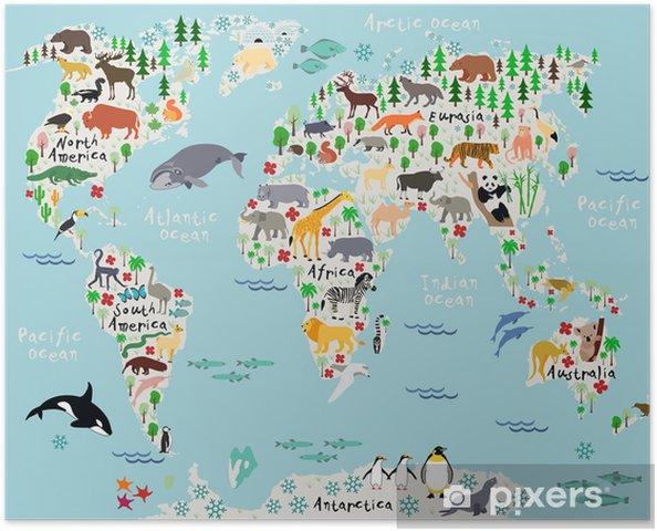 Plakat Mapa Zwierząt świata Dla Dzieci I Dzieci