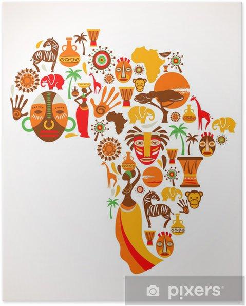 Plakat Mapy Afryki z ikon wektorowych - Natura