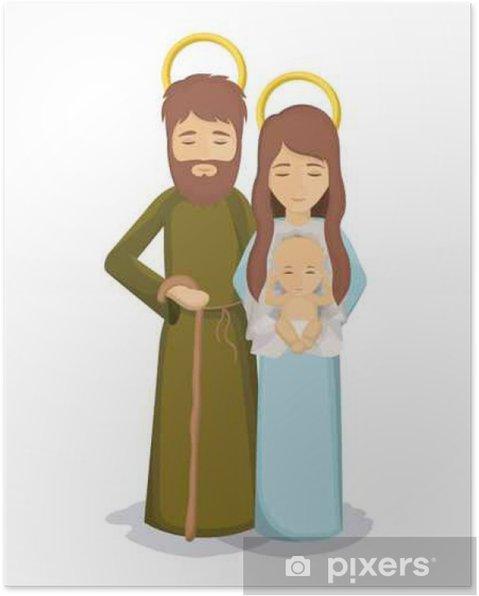 Plakát Marie a Josef s ikonou Ježíšek. Svatá rodina a veselé Vánoce téma. Barevné provedení. vektorové ilustrace - Kultura a náboženství
