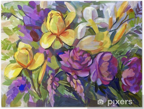 Plakat Martwa natura bukiet kwiatów. Ręcznie rysowane w gwaszem - Sztuka i twórczość