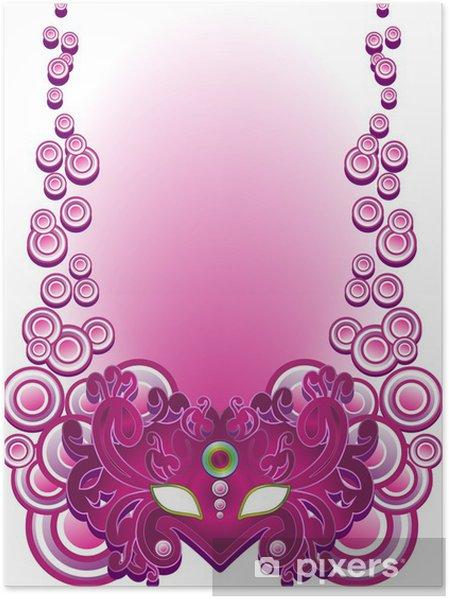 Plakat Maska-Purple-Purple Mask Carnival Wektor - Rozrywka