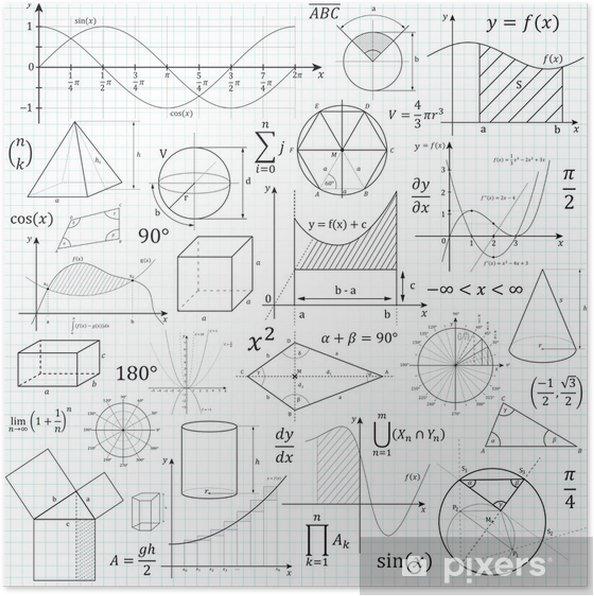 Plakat Matematyka, geometria, formulary, wzory, symbole, matematyka - Nauka