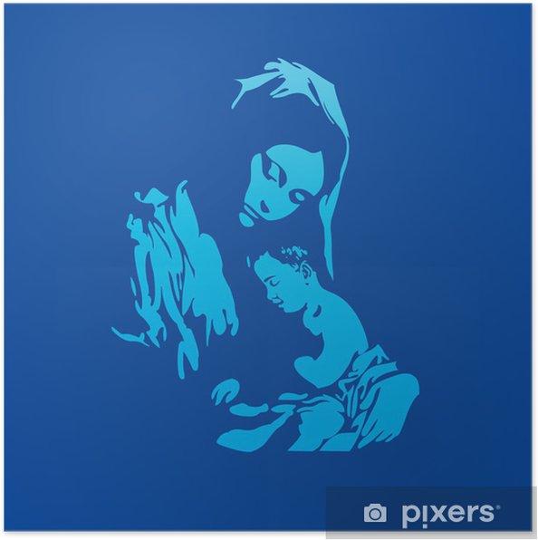 Plakat Matka Boska Z Jezusem Chrystusem W Kolorze Niebieskim