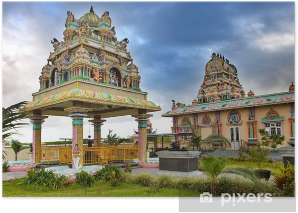 Plakát Mauritius. Hinduistický chrám. - Afrika