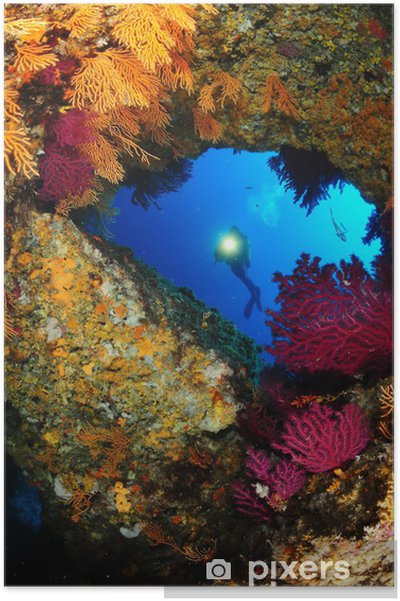 Plakat Mediterrannee-krajobraz-submarine - Azja