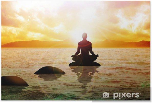 Plakat Medytuje postać człowieka na spokojne wody podczas wschodu - Tematy