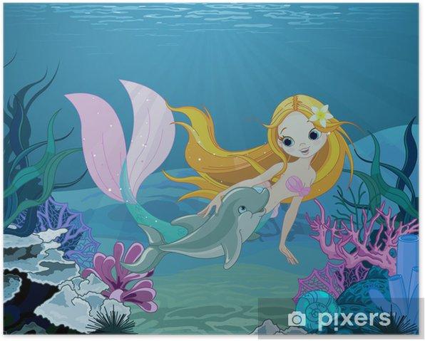 Plakat Mermaid i delfinów tło - Dla ucznia