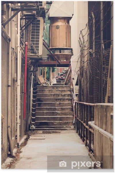 Plakát Messy postranní uličce v Hongkongu - Infrastruktura
