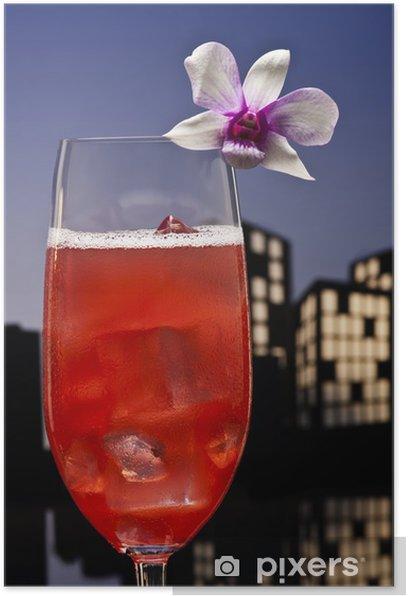 Plakat Metropolia Singapore Sling koktajl w otoczeniu panoramę miasta - Alkohol