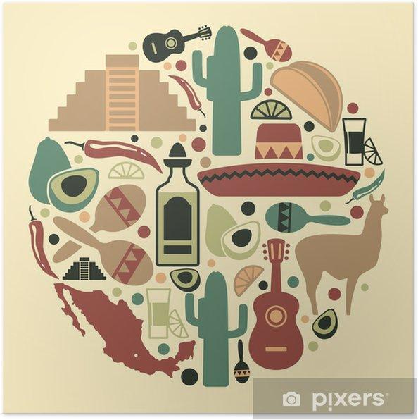 Plakát Mexická icon set - Amerika