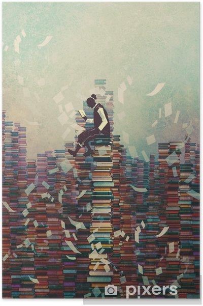 Plakat Mężczyzna czyta książkę siedząc na stos książek, koncepcja wiedzy, ilustracja malarstwo - Hobby i rozrywka