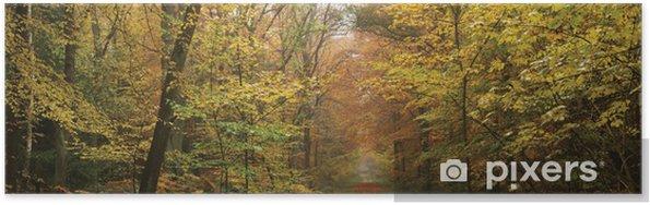Plakat Mglisty rano w lesie - Pory roku