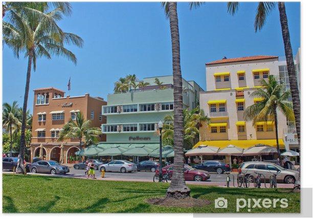 Plakat MIAMI - 09 maja 2013: South Beach w Miami ze swoim charakterystycznym stylu Art Deco - Ameryka