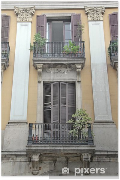 Plakat Miasto Barcelona, Hiszpania - Budynki prywatne
