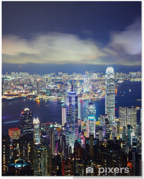 Plakat Miasto Hong Kong w nocy - Pejzaż miejski